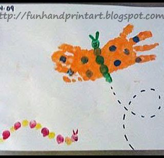 Springtime! Butterfly Hand Print and Thumbprint Caterpillar