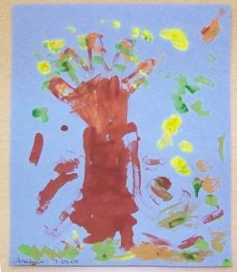 colorful handprint and thumbprint tree craft