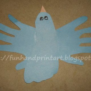 Cool Blue Flying Handprint and Footprint Bird