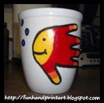 DIY handprint fish coffee mug - Father's Day Gift Idea