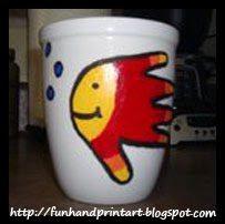 DIY handprint fish coffee mug - Father's Day Gift Idea