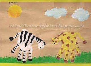 Safari Art ~ Adorable Handprint Zebra and Handprint Giraffe