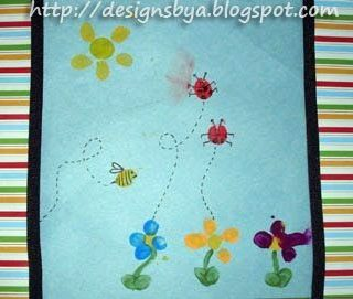 August Thumbprint Flowers, Ladybugs, Bumblebee, and Sun