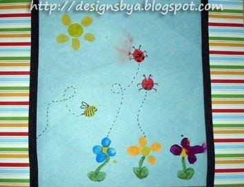 August Thumbprint Flowers Ladybugs Bumblebee And Sun