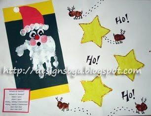 December Handprint Santa & Thumbprint Reindeer with Santa Poem