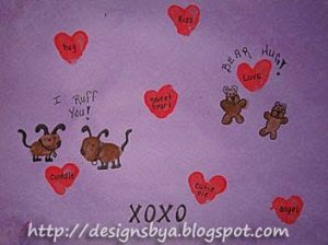 February Thumbprint Art For Handprint Calendar: Thumbprint dogs, bears, hearts