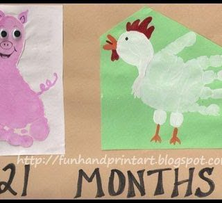 Cute Footprint Pig and Handprint Chicken