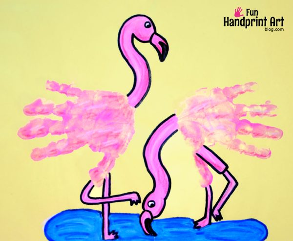 Handprint Pink Flamingo Craft for Kids