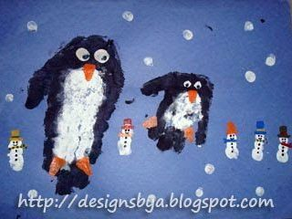 January Handprint Penguin and Fingerprint Snowman