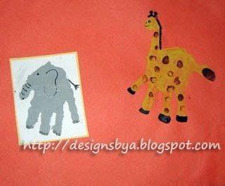 July Handprint Elephant and Giraffe
