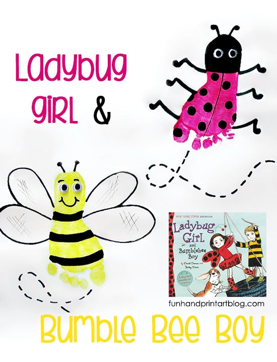 Ladybug Footprint and Bee Craft to go along with the kids book, Ladybug Girl & Bumblebee Boy