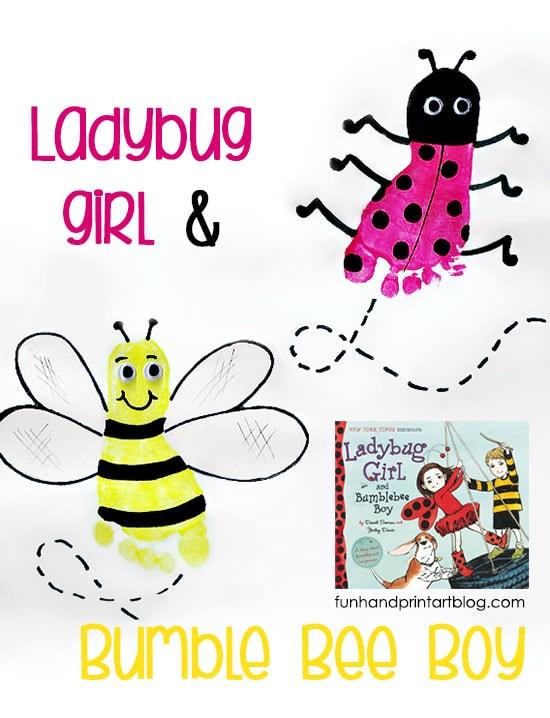 Ladybug Footprint and Bee Craft to go along with the kids book, Ladybug Girl & Bumblebee Boy