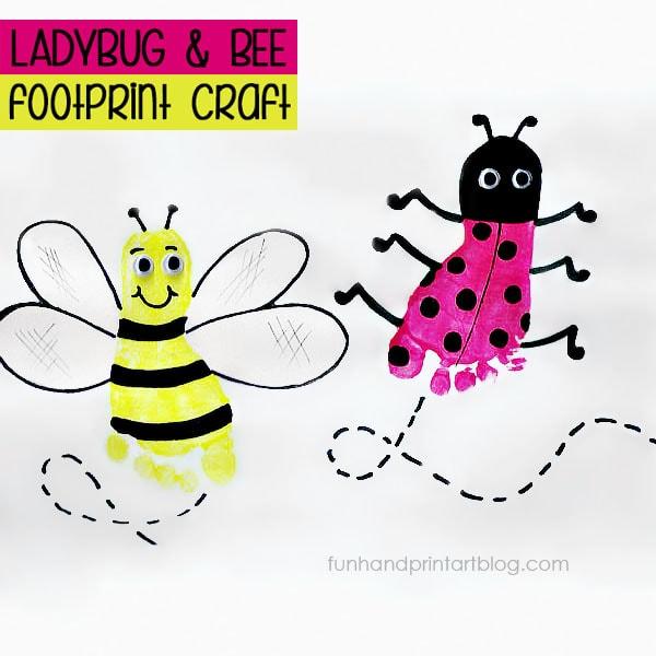 Footprint Ladybug & Bee Crafts