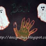October Handprint & Footprint Ghosts….. Handprint Monster Hand
