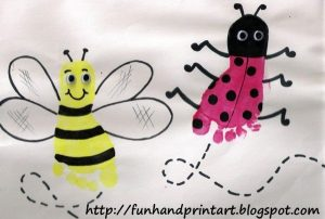 Ladybug Footprint & Footprint Bee Craft for preschoolers