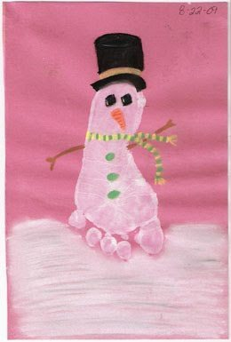 Make a Footprint Snowman - cute!
