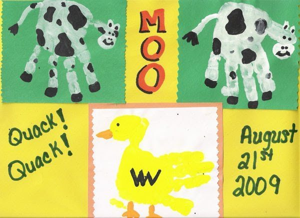 farm animal handprints duck and cow   fun handprint art