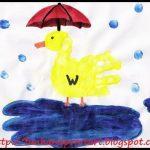 Rainy Day Handpint Duck with Umbrella