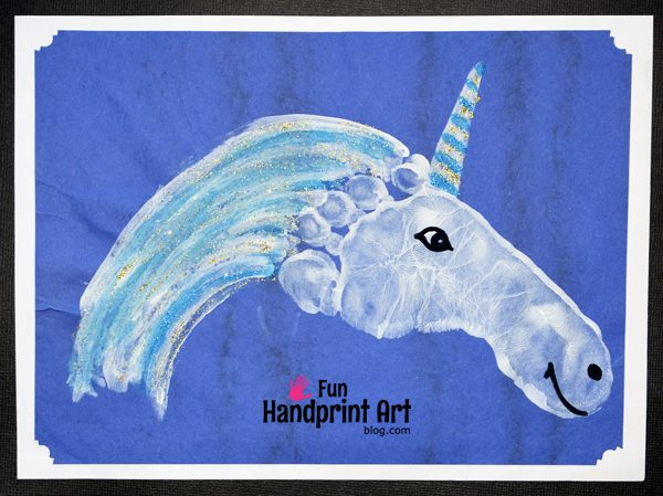 Sparkly Footprint Unicorn Craft Fun Handprint Art