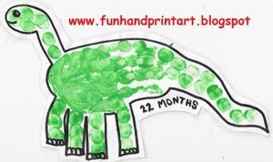Handprint Dinosaur Craft for Kids, Thumbprint Dinosaur art