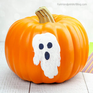 Ghost Handprint Pumpkin Design for babies & toddlers