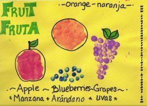 handprint apple, handrint orange, fingerprint grapes, fingerprint blueberries