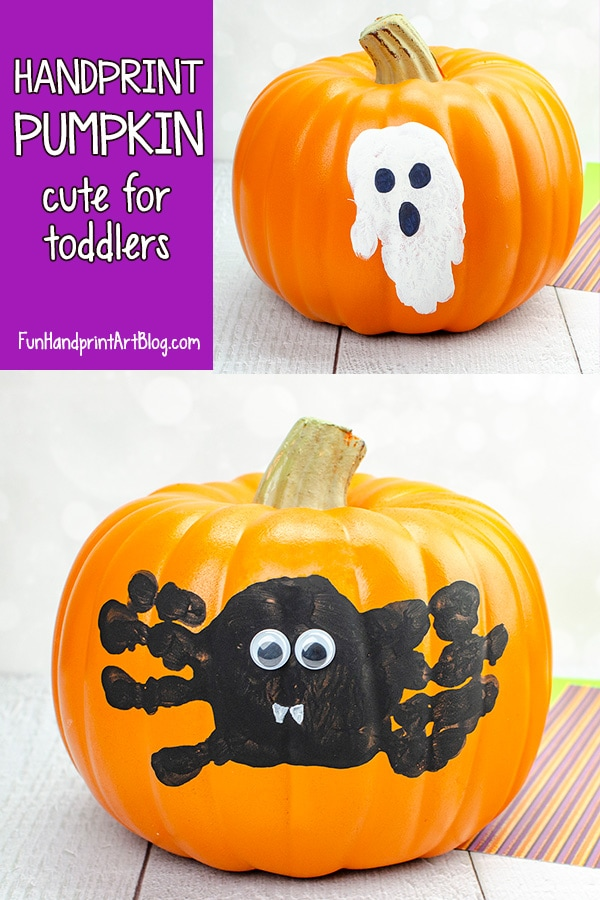 Toddler Pumpkin Painting Ideas using Handprints - Spider & Ghost Designs