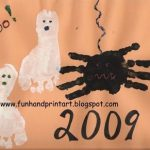 Footprint Ghosts and a Halloween Spider Made From Handprints