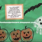 Halloween Art ~ Pumpkin Handprints, Handprint Ghost, Thumbprint Bats
