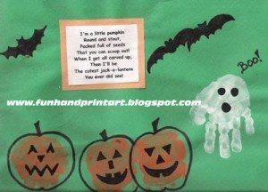 fun kids halloween craft, handprint pumpkins, handprint ghost, thumbprint bat