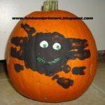 Pumpkin Painting – Handprint Spider and Handprint Ghost