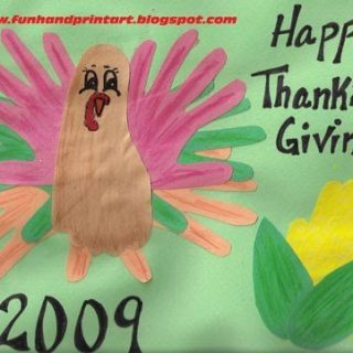 Thanksgiving Crafts – Hand and Foot Turkey, Handprint Corn