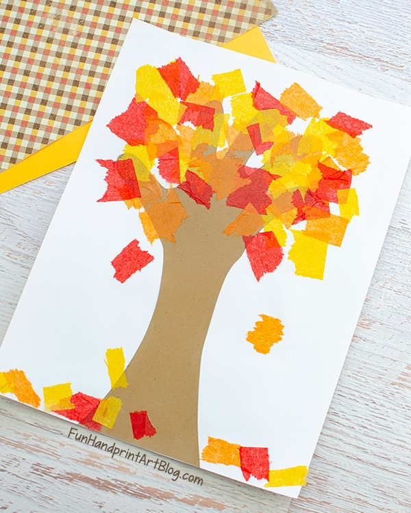 Handprint Fall Tree Craft with Tissue Paper Leaves