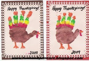 Hand Print Turkey Cards for Thanksgiving