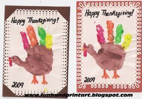 Thanksgiving Turkey Hand Print Cards