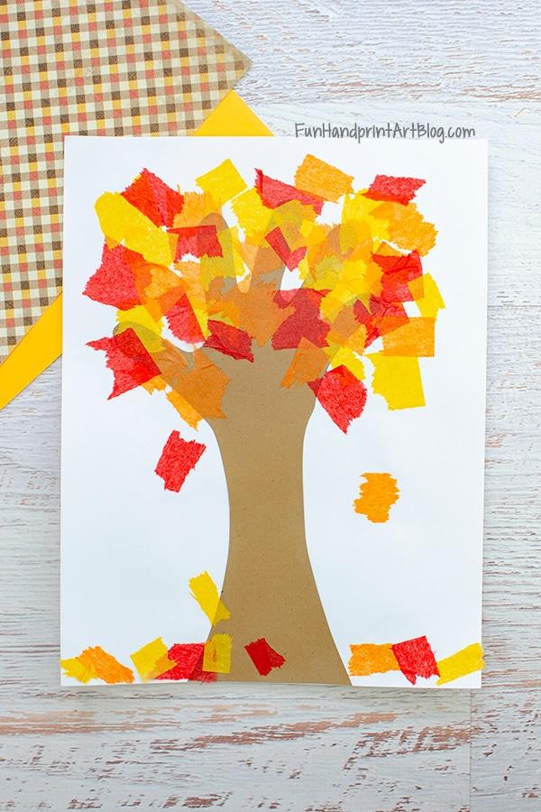 Tissue Paper Fall Tree Handprint Craft