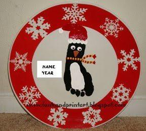How to make a Footprint Penguin Santa Plate - Christmas Decor & Keepsake Idea