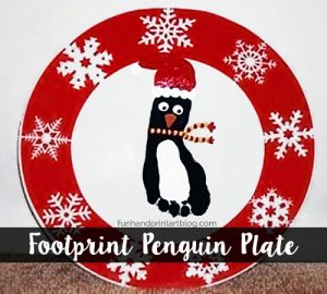 Footprint Penguin Christmas Plate Tutorial
