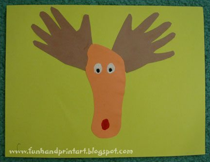 The classic hand and foot reindeer craft fun handprint art for Hand and foot crafts