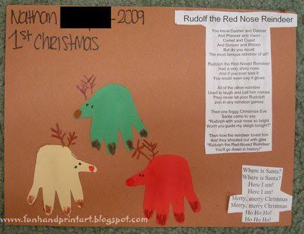 Baby's 1st Christmas Handprint Reindeer - Fun Handprint Art