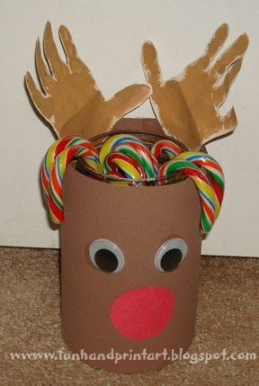 Handprint RUdolph Candy Cane Holder