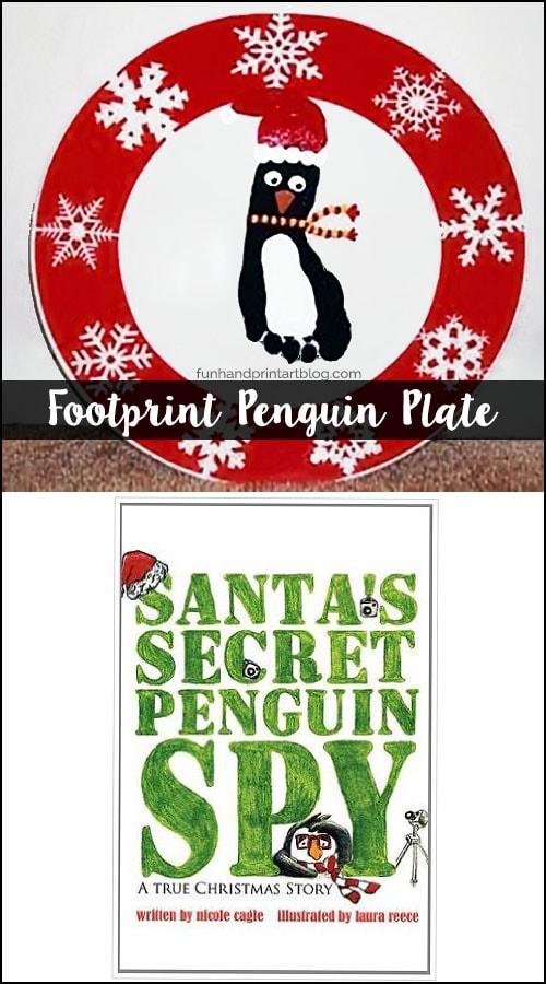 Read Santa's Secret Penguin Spy Book and make a footprint Christmas Plate Keepsake
