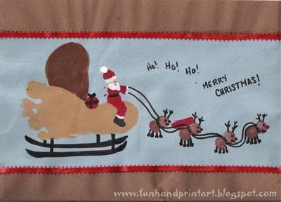 Christmas Craft: Footprint Sleigh with Thumbprint Reindeer