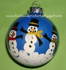 Fingerprint Snowman Family Keepsake Ornament