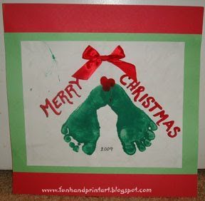 Footprint Christmas Holly Craft For Toddlers