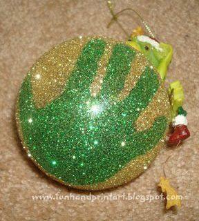 Sparkly Glitter Handprint Ornament Keepsake