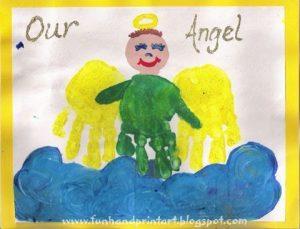 handprint angel christmas art