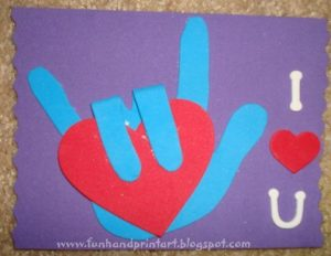 Sign Language I Love You Handprint Craft for Valentine's Day or Mother's Day