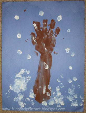 Winter Handprint Tree With Snowy Fingerprints