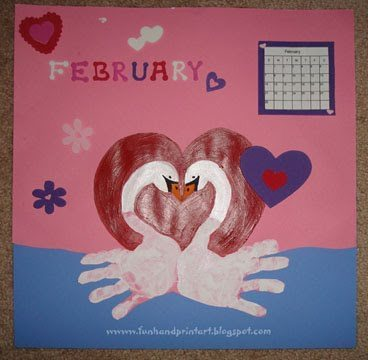 February Handprint Calendar Idea: Make Handprint Swans In A Heart Shape